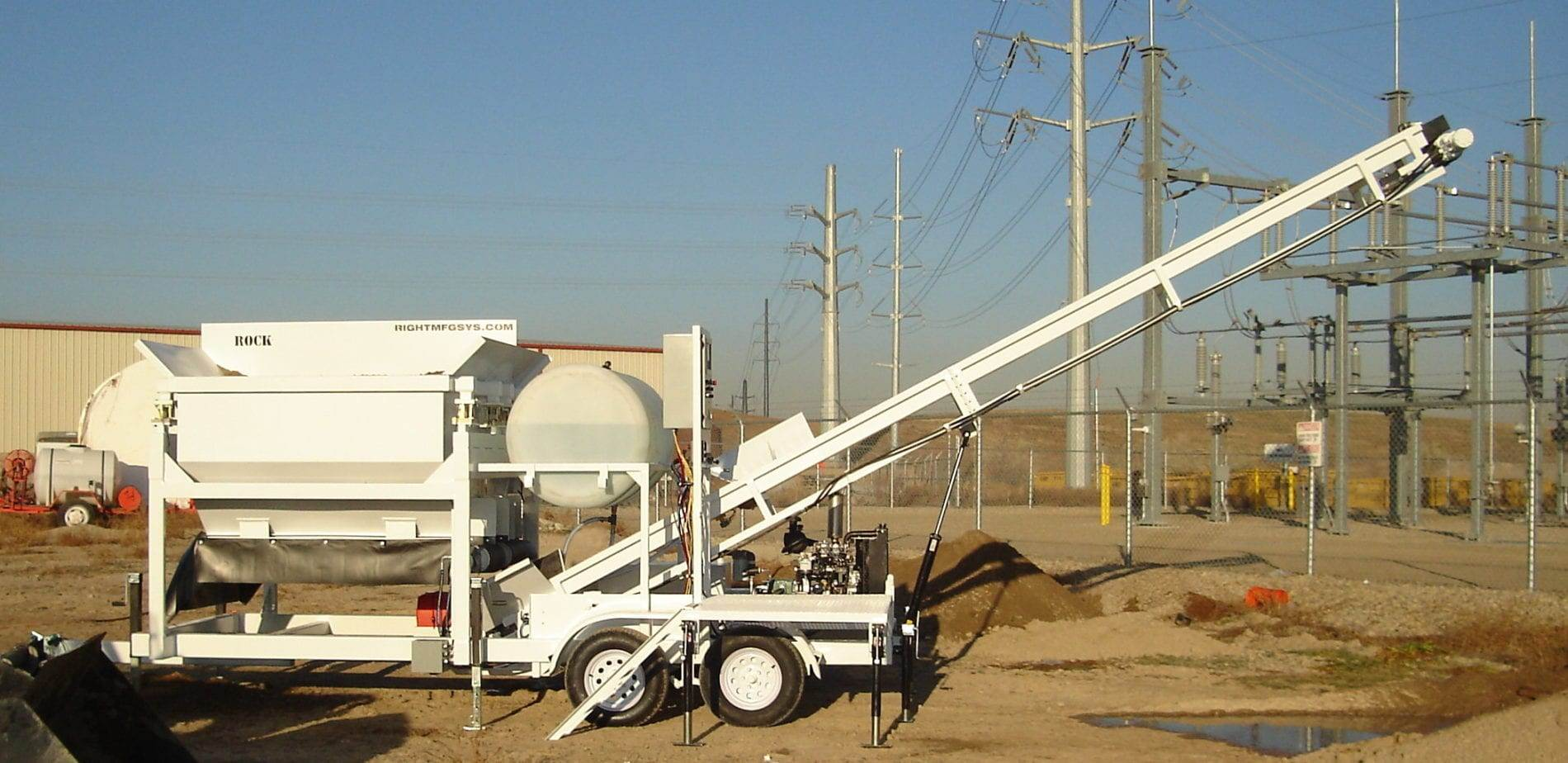 Portable Concrete Batching Plant 2CL-5-2 Extended Conveyor Side