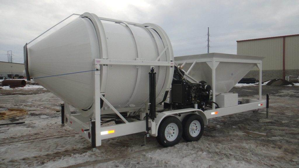 Portable Concrete Mixer Batching Plant 4 Cubic Yards Mix Right EZ 4-5 Back Side at Right Manufacturing Systems Inc.