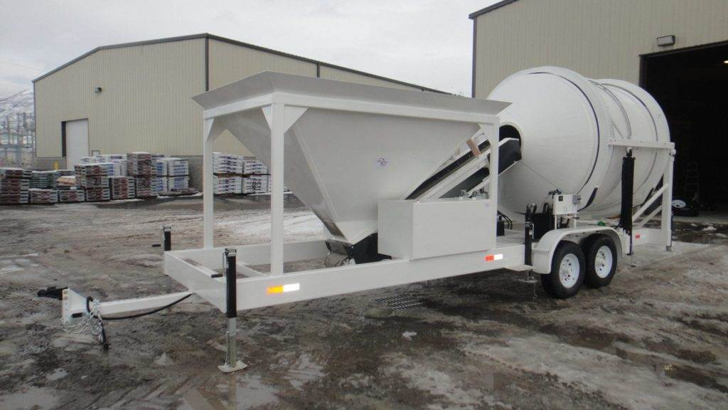 Portable Concrete Mixer Batching Plant 4 Cubic Yards Mix Right EZ 4-5 Front Left Side at Right Manufacturing Systems Inc.