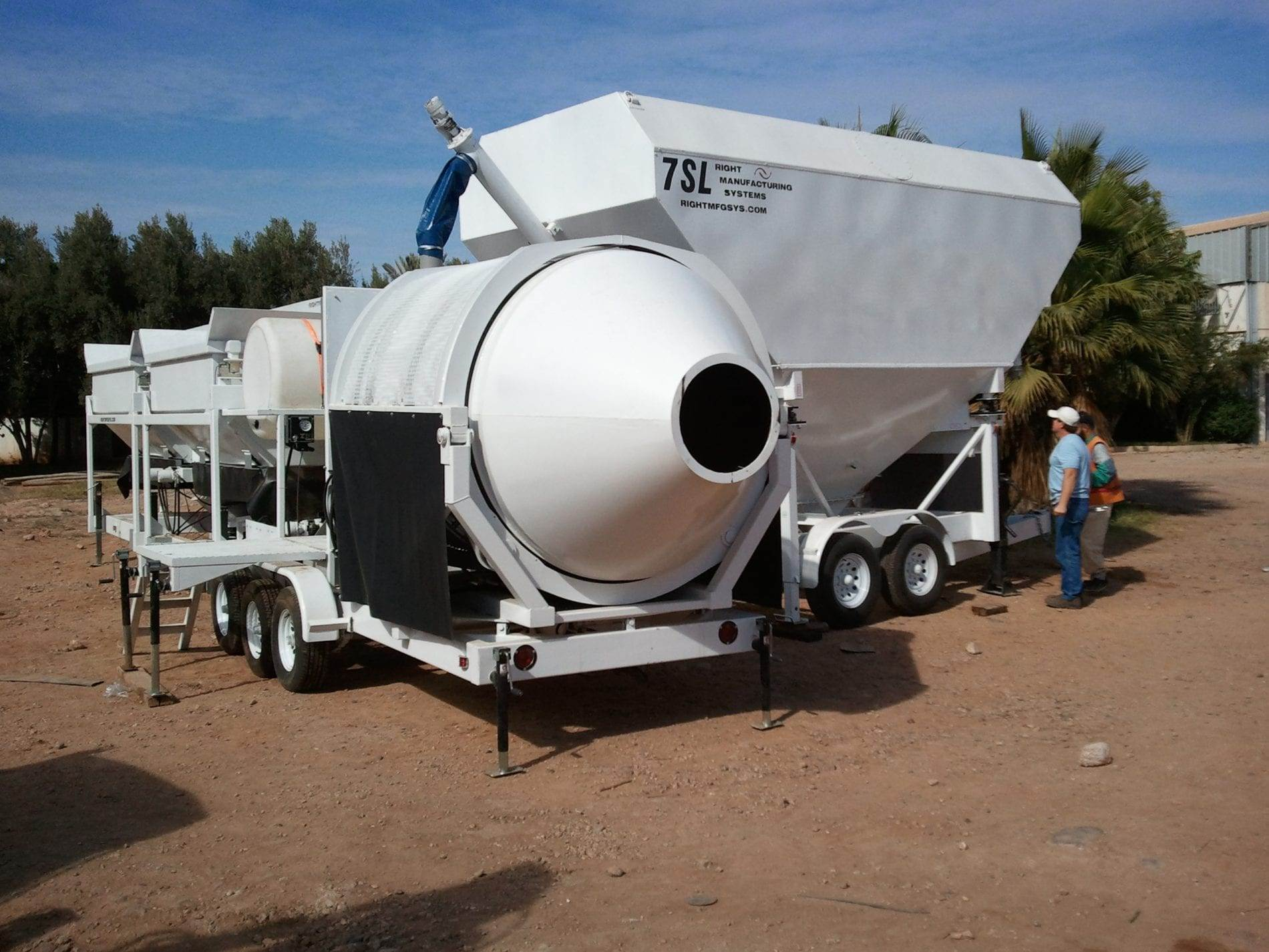 Portable Concrete Mixer Batching Plant 8+ Cubic Yards Automated Mix Right EZ 2-8-4 & Portable Cement Silo 35 Ton 7SL-80 in Morocco by Right Manufacturing Systems Inc.