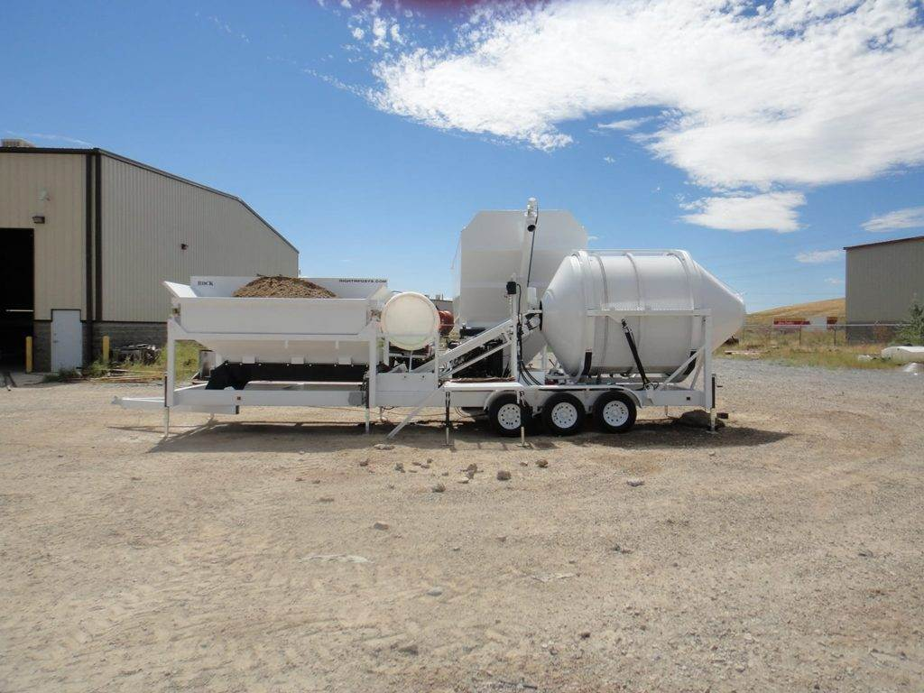 Portable Concrete Mixer Batching Plant 4 Cubic Yards Automated Mix Right EZ 4-10-2 & Portable Cement Silo at Right Manufacturing Systems Inc.