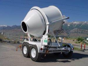 Portable Concrete Mixer 2 Cubic Yards Mix Right 2DH-S Tilted at Right Manufacturing Systems Inc.