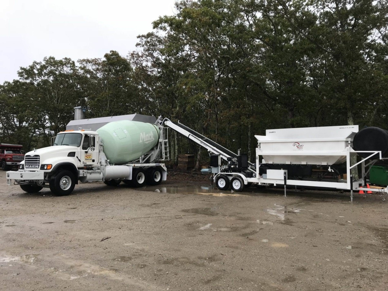 Portable Concrete Batching Plant 12+ Cubic Yards Automated Mix Right 2CL-12-2 & Portable Cement Silo Loading Concrete Truck On Site by Right Manufacturing Systems Inc.