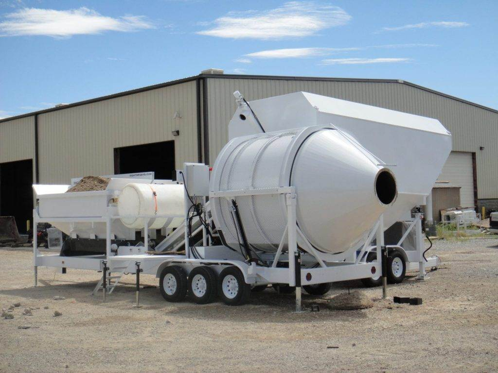 Portable Concrete Mixer Batching Plant 4 Cubic Yards Mix Right EZ 4-12-2 & Portable Cement Silo by Right Manufacturing Systems Inc.