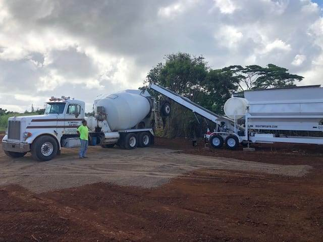 Portable Concrete Batching Plant 12+ Cubic Yards Automated Mix Right 2CL-12-2 Loading Concrete Truck On Site by Right Manufacturing Systems Inc.